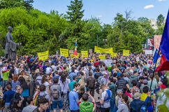 Protest in Bucharest against illegal logging Stock Photo