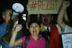 PROTEST IN BUCHAREST. Over 3000 people gathered Sunday night, August 27, 2017, in front of the Government, in Bucharest Victory Square to protest against the Royalty Free Stock Photography