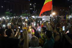 PROTEST IN BUCHAREST. Over 3000 people gathered Sunday night, August 27, 2017, in front of the Government, in Bucharest Victory Square to protest against the Royalty Free Stock Image