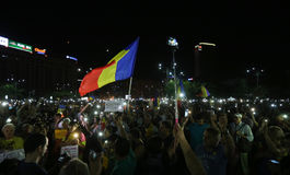 PROTEST IN BUCHAREST. Over 3000 people gathered Sunday night, August 27, 2017, in front of the Government, in Bucharest Victory Square to protest against the Royalty Free Stock Photos