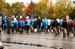 Protest Bucharest Romania. Protests downtown Bucharest on October 27, the day the motion against the government is voted / Unions announce 80,000 people on the Stock Image