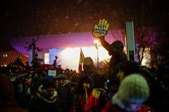 Protest in Bukarest, Rumänien Lizenzfreie Stockbilder