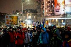 Protest in Bukarest, Rumänien Lizenzfreie Stockfotografie