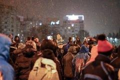 Protest in Bukarest, Rumänien Lizenzfreies Stockfoto