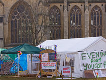 Protest Camp in the shadow of Bristol Cathedral. BRISTOL, ENGLAND - NOVEMBER 18: The Occupy Bristol camp on College Green outside the Cathedral in Bristol Stock Photo