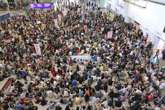 Protest Chief Executive Luggage Incident at Hong Kong Airport. Over 1,000 Cabin crew members and citizens sit-in at Hong Kong International Airport to protest Stock Images