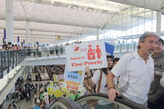 Protest Chief Executive Luggage Incident at Hong Kong Airport. Over 1,000 Cabin crew members and citizens sit-in at Hong Kong International Airport to protest Stock Photography