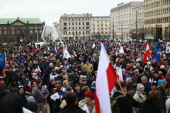 A crowd of people, The protest Committee the Defense of Democracy(KOD), Poznan, Poland Royalty Free Stock Image