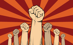 Protest concept illustration with a lot of hand showing protest Stock Images