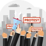 Protest, the concept of protest, the hand raised in protest. Flat design, vector illustration, vector royalty free illustration