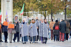 Protest concerning abusive imprisonment in Iran Stock Photo