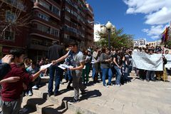 Protest demonstration of university students and college students in Alicante Royalty Free Stock Images