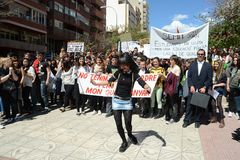 Protest demonstration of university students and college students in Alicante Stock Image