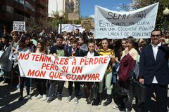 Protest demonstration of university students and college students in Alicante Royalty Free Stock Photography