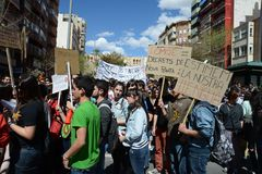 Protest demonstration of university students and college students in Alicante. ALICANTE, SPAIN - MARCH 27, 2014: Alicante - city in Valensiysky Autonomous Region Stock Images