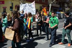 Protest demonstration of university students and college students in Alicante Royalty Free Stock Photos