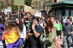 Protest demonstration of university students and college students in Alicante Royalty Free Stock Image