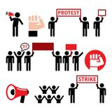 Protest design, strike, people demonstrating or fighting for their rights  icons set. Social issues - people protesting or striking  icons set Royalty Free Stock Photos