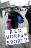 PROTEST DURCH PFERDEsport Stockfotos