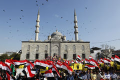 Protest for Egypt military crackdown in Istanbul,T Stock Photography