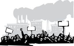 Protest an einer Fabrik Stockfotografie