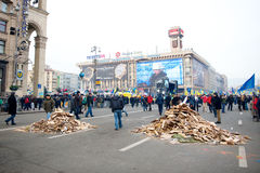 Protest on Euromaydan in Kiev against the president Yanukovych Royalty Free Stock Photos