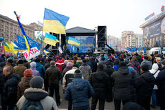 Protest on Euromaydan in Kiev against the president Yanukovych Stock Photo