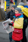 Protest on Euromaydan in Kiev against the president Yanukovych Royalty Free Stock Images