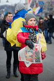 Protest on Euromaydan in Kiev against the president Yanukovych Royalty Free Stock Photography
