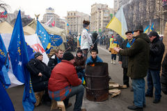 Protest on Euromaydan in Kiev against the president Yanukovych Royalty Free Stock Photo