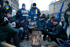 Protest on Euromaydan in Kiev against the president Yanukovych Stock Photos