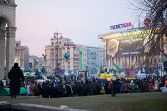 Protest on Euromaydan in Kiev against the president Yanukovych Stock Images