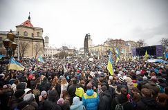 Protest on Euromaydan in Lviv Royalty Free Stock Photos