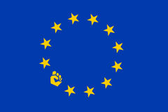 Protest in European union. Flag of EU with raised fist. Eurosceptical member of European union as source of rebellion, revolt, opposition, defiance and Stock Images