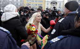 Protest för Bulgarien FEMEN Royaltyfria Bilder