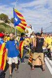 Protest för Catalonia självständighet Arkivbild