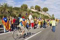 Protest för Catalonia självständighet Arkivbilder