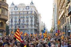 Protest för Catalonia självständighet Royaltyfria Bilder