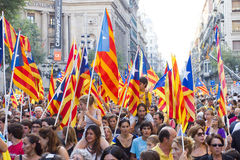 Protest för Catalonia självständighet Royaltyfria Foton