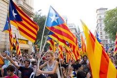 Protest för Catalonia självständighet Arkivfoto