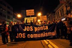 Protest, för den andra rundan av presidentvalmedborgare protesterar mot den socialistiska kandidaten, Victor Ponta Fotografering för Bildbyråer