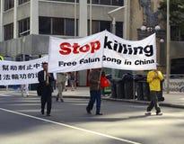 protest för falungong Arkivfoto