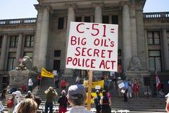 Protest för räkning C-51 (Anti--terrorism handling) i Vancouver Arkivfoton