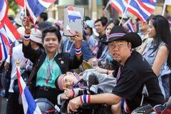 Protest för thailändskt folk i Bangkok Arkivbilder
