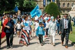 Protest för Uyghur mänsklig rättighetaktivister Arkivfoto