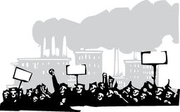 Protest at a Factory stock illustration