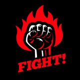 Clenched raised fist in fire on dark black background. Stock Photography