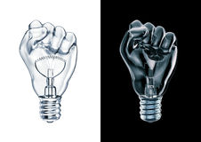 Protest fist light bulb Stock Photos