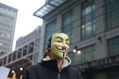 Protest framme av trumftornet i Toronto Royaltyfri Bild