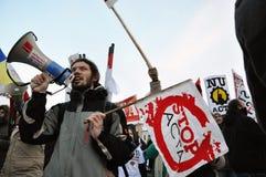Protest gegen ACTA und Regierung Stockfoto